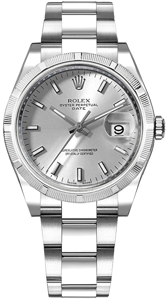 Rolex Oyster Perpetual Date 34 Silver Dial Watch 115210