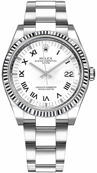 Rolex Oyster Perpetual Date 34 White Roman Numeral Watch 115234