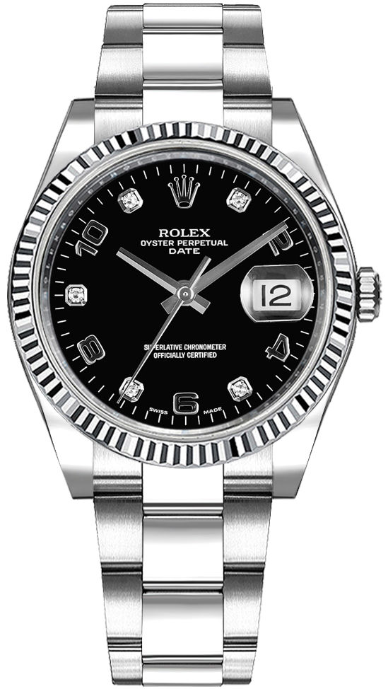 7185897b7412 Rolex Oyster Perpetual Date 34 Black Diamond Dial Watch 115234 - image 0 ...