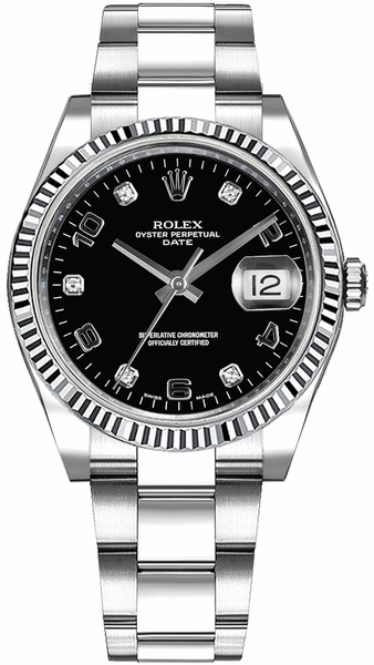 Rolex Oyster Perpetual Date 34 Black Diamond Dial Watch 115234
