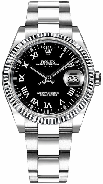Rolex Oyster Perpetual Date 34 Black Roman Numeral Dial Watch 115234