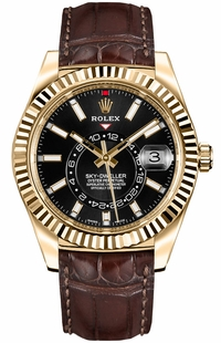 Rolex Sky-Dweller Black Dial Men's Watch 326138-0008