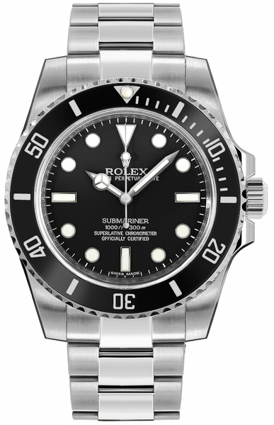 Rolex Submariner Men's Luxury Diver Watch Black Dial 114060-0002