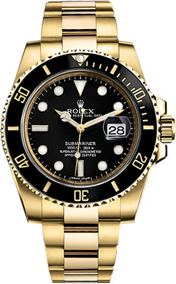 b7a5db571 116618 Rolex Submariner Black Dial Mens Solid 18K Gold Automatic Watch for  Sale