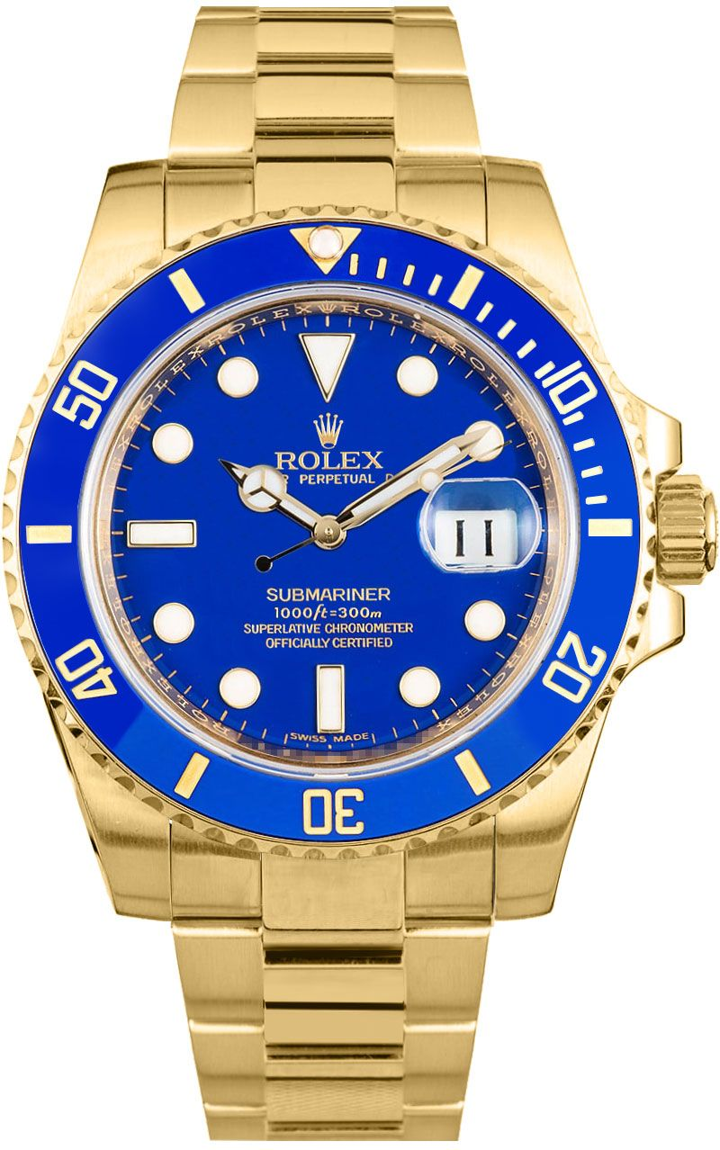 16618 rolex submariner blue dial mens 18k gold watch for Submariner rolex blue