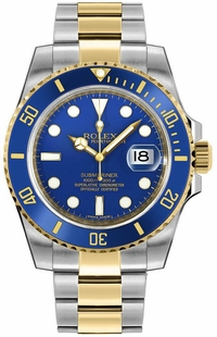 Rolex Submariner Date Two Tone Blue Dial Men's Watch 116613LB-0005