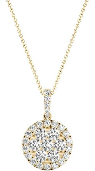 Diamond Round Pendant, .56 Carat on 18k Yellow Gold P20241Y