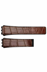 Tag Heuer 21mm Inlet Black Rubber & Brown Leather OEM Watch Strap FC6405
