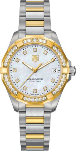 98083f380e055 Tag Heuer Aquaracer Pearl Dial Diamond   Gold Women s Watch WAY1353.BD0917