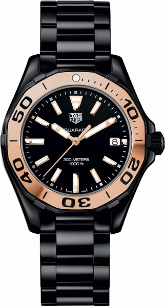 Tag Heuer Aquaracer 300M Black & Rose Gold Ladies Watch WAY1355.BH0716