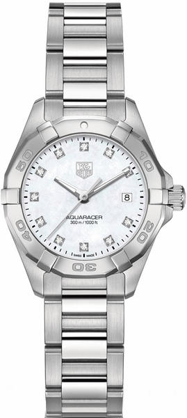 Tag Heuer Aquaracer White Pearl Diamond Ladies Watch WAY1413.BA0920