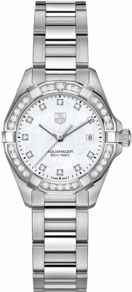 Tag Heuer Aquaracer Ladies Watch White Pearl & Diamond WAY1414.BA0920