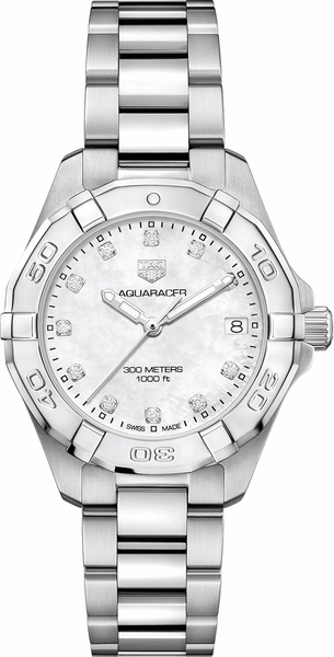 Tag Heuer Aquaracer White Pearl & Diamond Dial Women's Watch WBD1314.BA0740