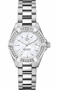 Tag Heuer Aquaracer White Pearl Diamond Ladies Luxury Watch WBD1413.BA0741