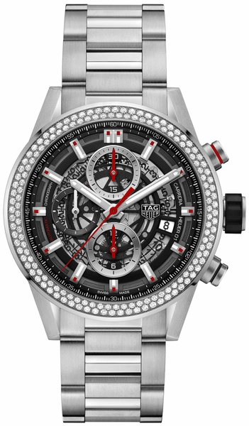Tag Heuer Carrera Skeleton Black Dial Diamonds Men's Watch CAR201P.BA0766