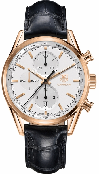 Tag Heuer Carrera Solid Rose Gold Case Silver Dial Men's Watch CAR2140.FC8145