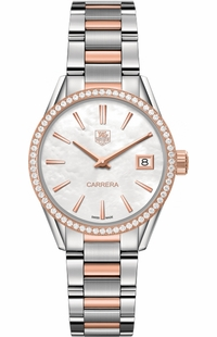 Tag Heuer Carrera Solid Rose Gold & Stainless Diamond Women's Watch WAR1353.BD0779