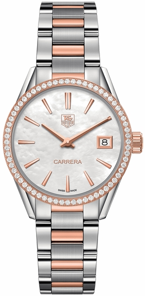 Tag Heuer Carrera Solid Rose Gold & Stainless Women's Watch WAR1353.BD0774