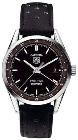 Tag Heuer Carrera Twin-Time Black Dial Men's Watch WV2115.FC6182