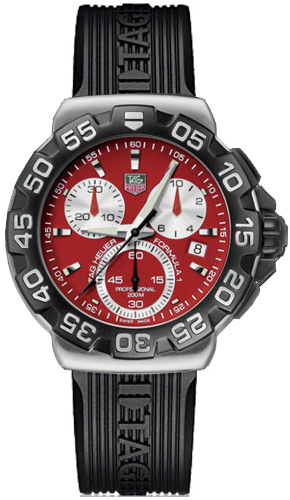18464aea42c Tag Heuer Formula 1 Red Dial Chronograph Men s Watch CAH1112.FT6024