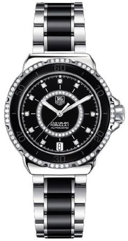 7b8e5768777 WAU2212.BA0859 TAG Heuer Formula One Diamonds Ladies Black Ceramic Watch