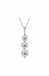 Three Stone Diamond Pendant, 0.75 Carat on 14k White Gold