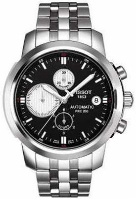 8f59c31f9d7 T014.427.11.051.01 Tissot PRC 200 Chronograph Black Dial Automatic Watch.