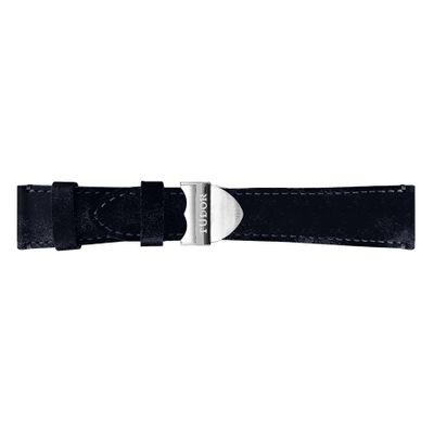 Tudor 22mm Inlet Aged Dark Blue Leather OEM Watch Strap T0005