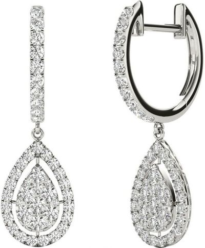 Diamond Earrings, 1.0 Carat Diamonds on 18k White Gold E20239W
