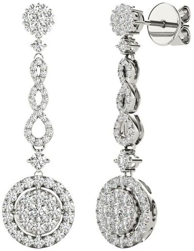 Diamond Earrings, .98 Carat Diamonds on 18k White Gold E20252W