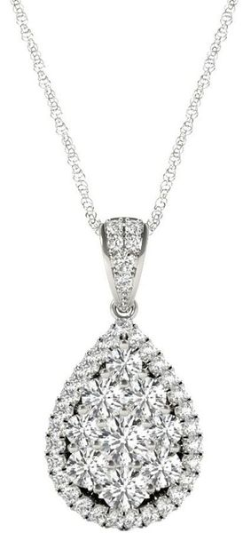 Diamond Oval Pendant, .81 Carat on 18k White Gold P20249W