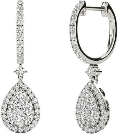 Diamond Earrings, 1.45 Carat Diamonds on 18k White Gold E20240W