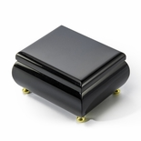 18 Note High Gloss Midnight Black Finish Musical Jewelry Box