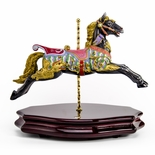 18th Century Black Carousel Horse Miniature Replica Musical Figurine