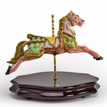 18th Century Blue and Pink Carousel Horse Miniature Replica Musical Figurine