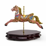18th Century Green and Pink Carousel Horse Miniature Replica Musical Figurine