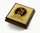 21st Birthday Centered in Gold Wreath Sorrento Hand Inlaid Music Jewelry Box