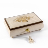 3 Wedding Bells with Ribbon Wood Inlay Ivory 22 Note Musical Jewelry Box