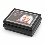 "4"" x 6"" Black Lacquer Photo Frame Music Box with New ""Pop-Out"" lens System"