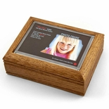 "4"" x 6"" Oak Photo Frame Music Box with New ""Pop-Out"" lens System"