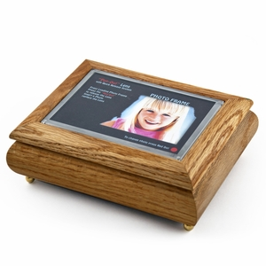 "4"" x 6"" Oak Photo Frame Musical Jewelry Box with New ""Pop-Out"" lens System"