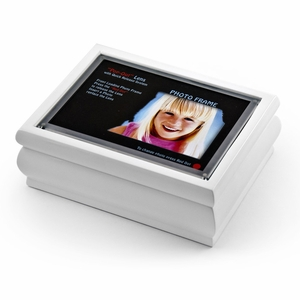 """4"""" x 6"""" White Lacquer Photo Frame Music Box with New """"Pop-Out"""" lens System"""