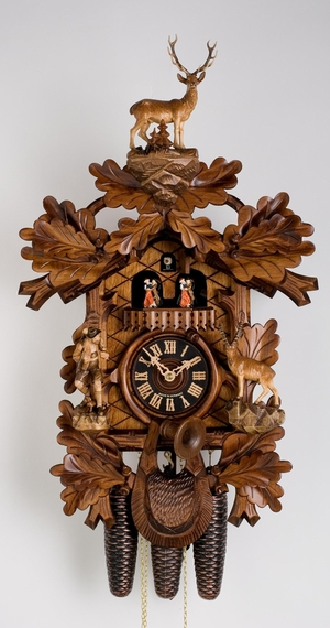 8 Day Musical Black Forest Traditional Carved Hunter Cuckoo Clock By Hönes