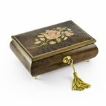 A Beautiful Single Rose Inlay Sorrento Musical Jewelry Box - 30NOTE
