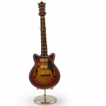 A Classic Miniature Replica of F-Hole Archtop Guitar with Stand & Case