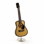 A Miniature Replica of a Light Wood Tone Steel-String Acoustic Guitar With Stand & Case