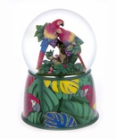 A Precious Parrot Couple Hugging Snowglobe / Waterglobe with 18 Note Movement