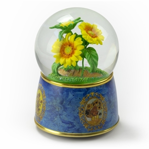 """A Tribute to Van Gogh's """"Sunflowers"""" 18 Note Musical Water Globe"""