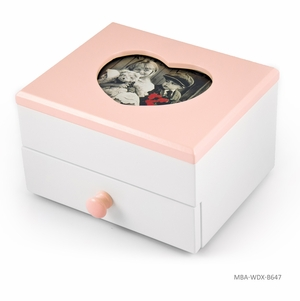 """Adorable 18 Note Matte White with Pink Heart Shaped 5"""" x 3"""" Photo Frame Musical Jewelry Box"""