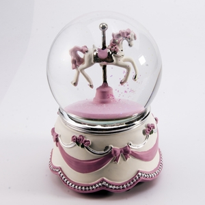 Adorable Animated Carousel Horse Water Globe with Pink Ribbon and Roses Base